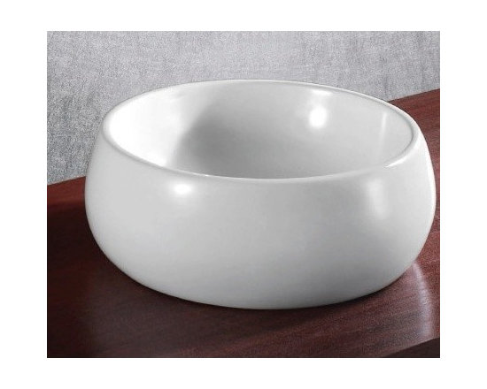 "Caracalla - Bowl Shaped Modern Stylish Ceramic Vessel Sink - Modern bowl shaped bathroom sink designed in Italy by Caracalla. Stylish circular above counter vessel sink made of high quality white ceramic. Washbasin comes without overflow and has no faucet holes. Sink dimensions: 17.91"" (width), 7.87"" (height), 17.91"" (depth)"