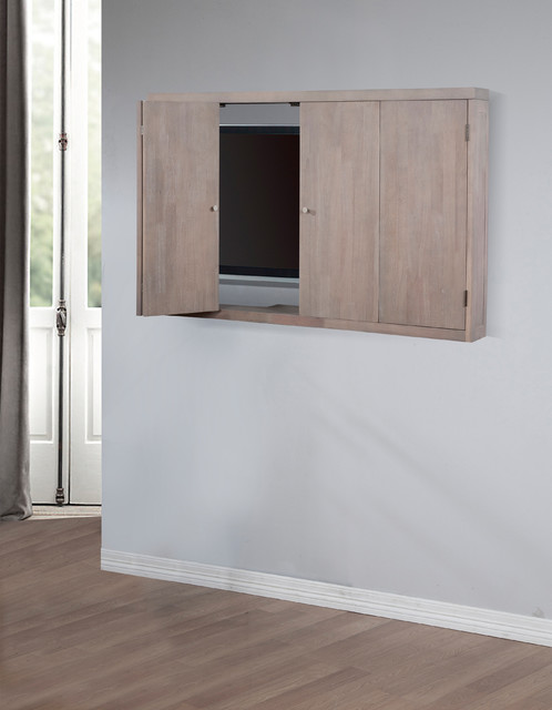 Studio Dove Finish Wall Mount TV Cabinet - Contemporary - Home Electronics - by Overstock.com