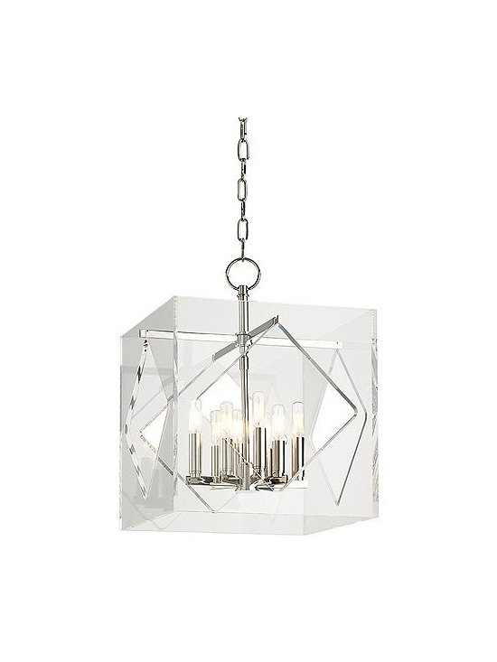 """Hudson Valley Lighting - Hudson Valley Lighting   Travis Eight Light Pendant - Design by Hudson Valley, 2014.Mixing the timely with the timeless, American designers created an ultra glamorous look that defines the silver screen's golden age. The Travis Eight Light Pendant draws inspiration from Hollywood Regency style by encasing a sleek and elegantly proportioned eight candelabra chandelier in a cut and polished cube of modern acrylic glass. Hook shade attachment. Supplied with a 54"""" chain."""