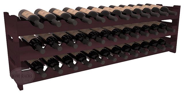 36 Bottle Scalloped Wine Rack in Redwood, Burgundy Stain contemporary-wine-racks