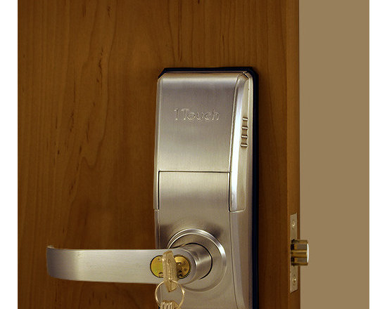 1TouchIQ2 Brushed Nickel Fingerprint Lock - Keys, pin codes, or fingerprints can be used to gain access in the modern biometric lock called the 1TouchIQ2.