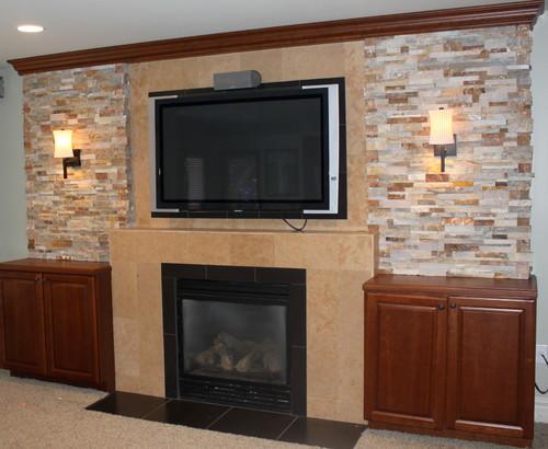 Flat Screen Tv Above Fireplace Basement