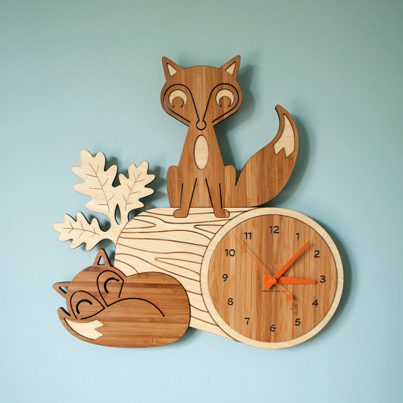 Fox Log Bamboo Wall Clock by Graphic Spaces contemporary clocks