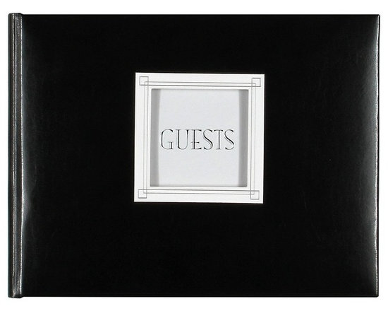 C.R. Gibson Customizable Guest Book, Black Leather -