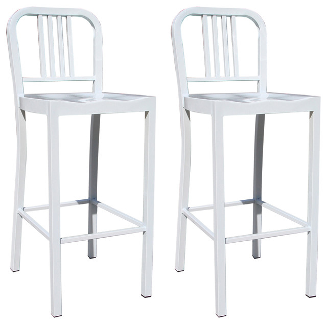 Amerihome 2 Piece Metal Counter Height Chair Set White