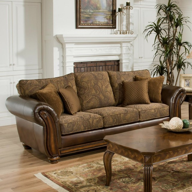 Traditional Sofa Pillows : Simmons Zephyr Vintage Leather and Chenille Sofa with Accent Pillows - Traditional - Sofas - by ...