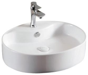 Oval White Ceramic Vessel Bathroom Sink, One Hole contemporary-bathroom-sinks