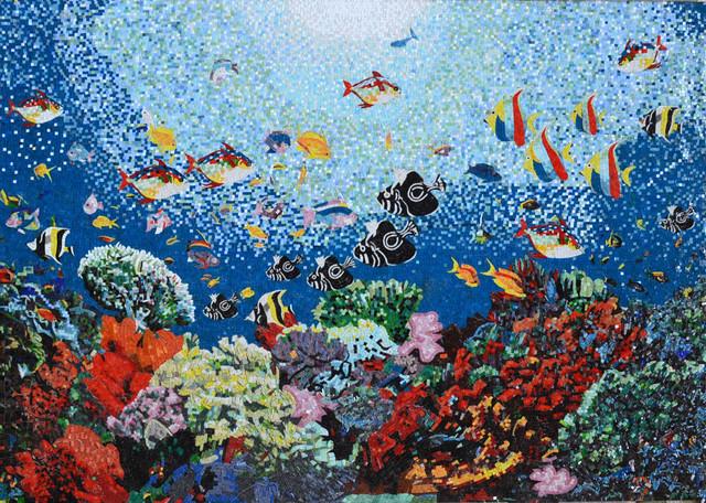 bathroom mosaic wall tropical tile new york by : ideas mosaic wall