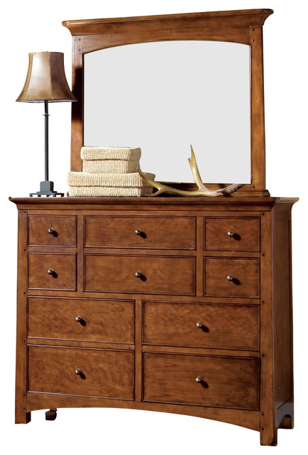 Lea Elite Crossover Bureau with Mirror in Burnished Cherry traditional-dressers