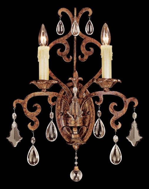 Savoy House Forged Iron 2-Light Wall Sconce traditional-wall-sconces
