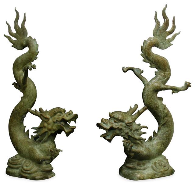 Bronze Flying Prosperity Dragons Asian Garden Statues