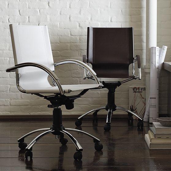 Swivel leather desk chair modern office chairs by - West elm office desk ...