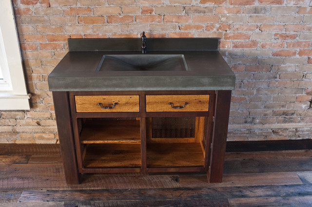 Concrete Laundry Sink Base : Integral concrete wave sink with steel base - Traditional - Bathroom ...