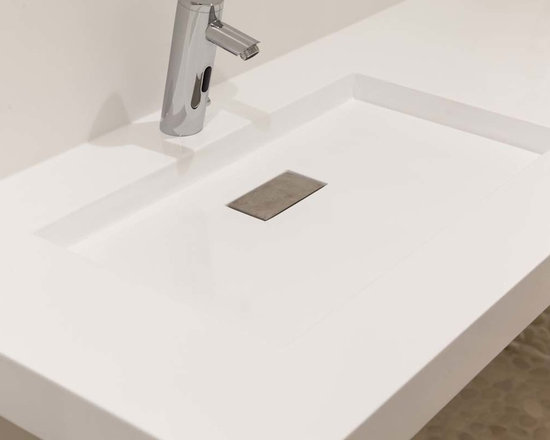 "Concrete Bathrooms - Concrete sink 3"" edge, eased.  Shallow trough sink, with rectangular drain."