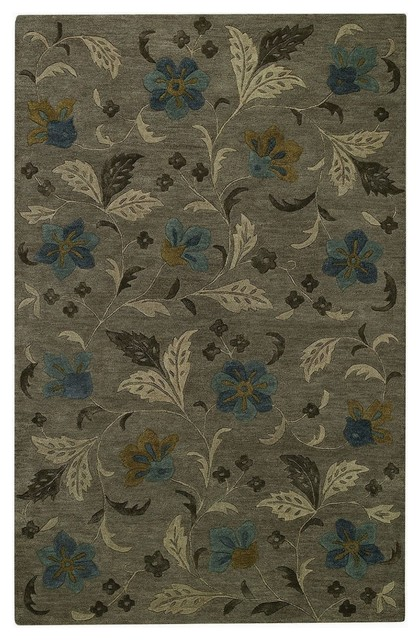 Contemporary Brock Haven-Bluebells 5'x8' Rectangle Charcoal Area Rug transitional-rugs