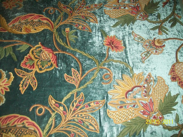 crewel curtains  upholstery fabric