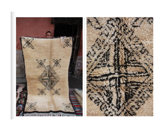 carpets from morocco - 3x2 meter black and cream carpet