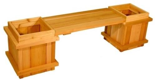 Square Cedar Wood 3-Piece Planter Bench Set contemporary-outdoor-planters