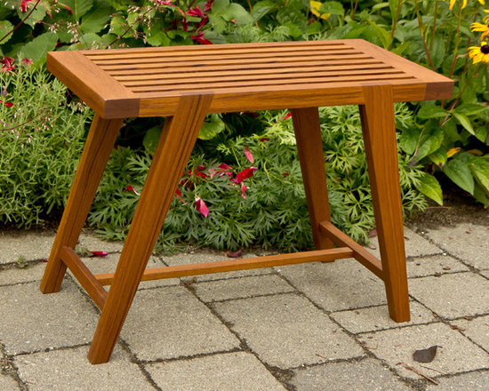 Teak Bench - This teak bench was made of wood recycled from an outdated coffee table.