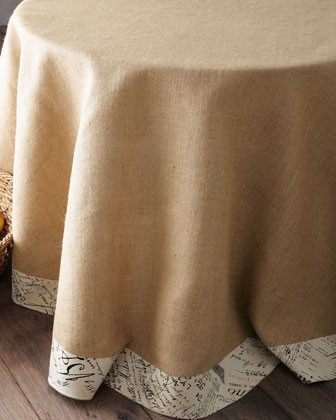Burlap Round Tablecloth traditional-tablecloths