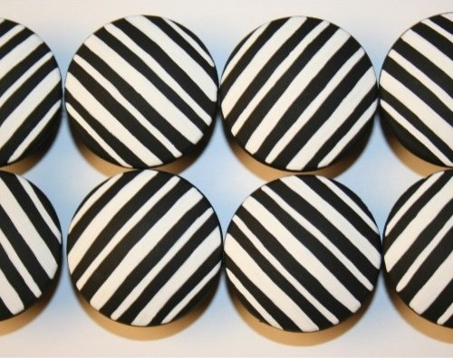 Black and White Pin Stripe Knobs modern-cabinet-and-drawer ...