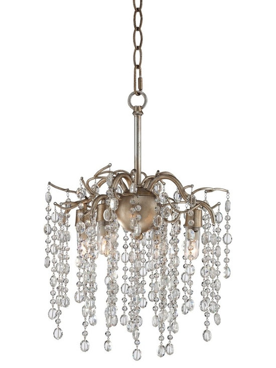 "Possini Euro Design - Champagne Silver Branches 12"" Wide Small Chandelier - Shimmering strands of crystal beads rain down from the branches frame of this silver champagne chandelier. Four lights shine from the tips of the branches attached to the center of a sphere which hangs from a decorative chain. A breathtaking fixture that will add a new level of luxury to your home decor. From Possini Euro Design. Metal frame. Champagne silver finish. Clear crystal beads. Includes four 40 watt G9 halogen bulbs. Includes 6 feet of chain 12 feet of wire. 12"" wide. 11"" high. Canopy is 5 1/8"" wide. Hang weight is 4.6 lbs.  Champagne silver finish.  Clear crystal beads.  Metal frame.  Includes four 40 watt G9 halogen bulbs.  Includes 6 feet of chain 12 feet of wire.  12"" wide.  11"" high.  Canopy is 5 1/8"" wide.  Hang weight is 4.6 lbs."