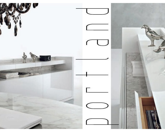 """Portland - Sideboard in oak or in glossy lacquered wood with sliding doors and four little drawers. Tops in """"white Michelangelo"""" or """"black Marquinia"""" marble or in """"Serena stone""""."""