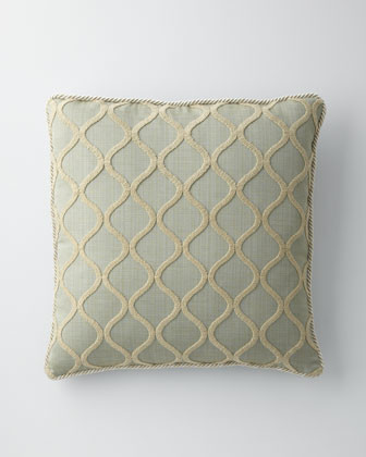 """Isabella Collection by Kathy Fielder Blue Ogee Pillow, 22""""Sq. traditional-decorative-pillows"""