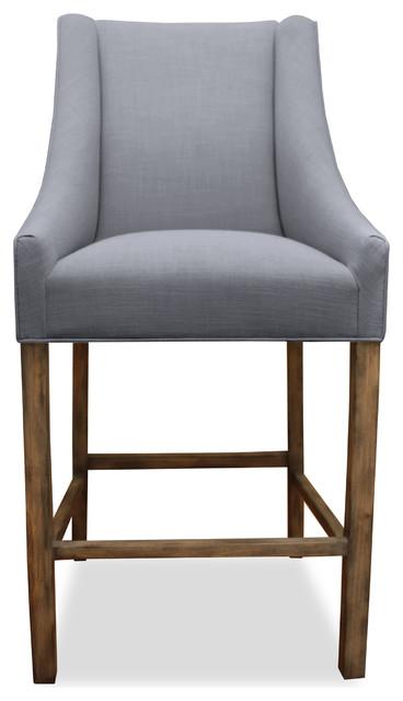 Park Linen Upholstered Bar Stool Grey Modern Bar