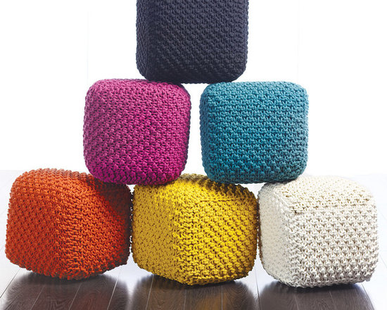 Tonia Cross Knitted Pouf - Tonia knitted pouf in a chunky cross knit aqua blue. Also available in black, berry, mustard, natural and terracotta.