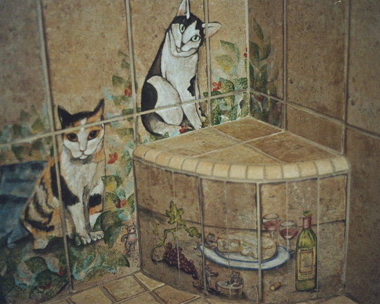 Roman Shower Design with Cats -