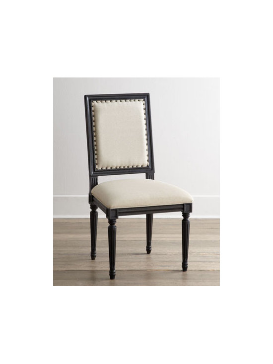 "Horchow - Two ""Patricia"" Side Chairs - Classic side chairs are defined by fluted, turned post legs and oversized nailhead trim outlining the backs. Frames made of select hardwoods with a charcoal finish. Backs and seats upholstered in linen/viscose. Sold in pairs; each 21""W x 22""D x 40""T...."
