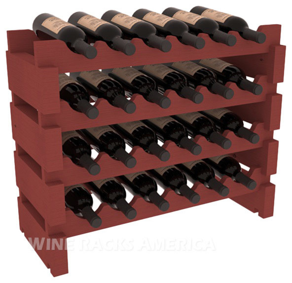 24 Bottle Mini Scalloped Wine Rackt in Pine with Cherry Stain contemporary-wine-racks