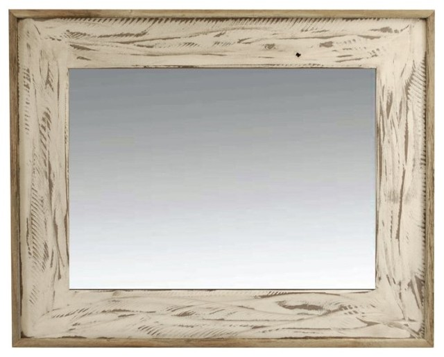 Rustic Mirror 18x26 Rustic Denali Antique White Heavily Distressed Wood Mirror - Rustic - Wall ...
