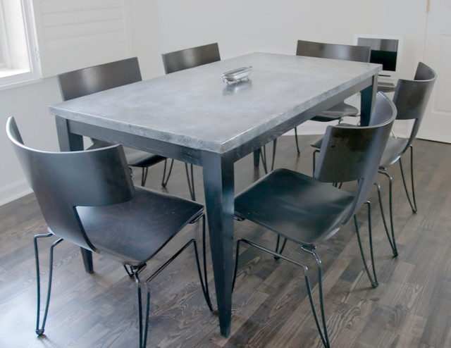 Custom Zinc Top kitchen table in painted oak contemporary-dining-tables