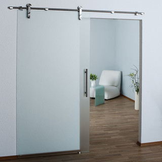 Frameless Modern Stainless Sliding Barn Door Hardware For Glass Door ...
