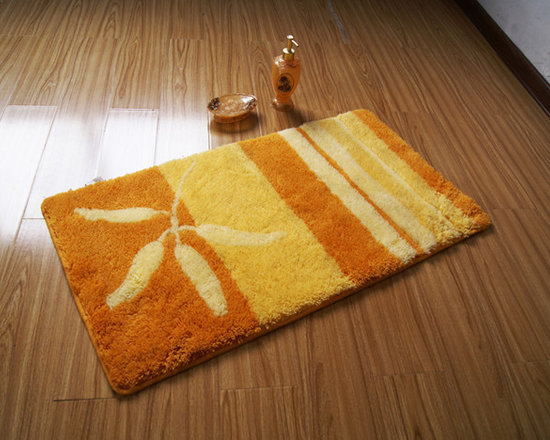 Elegant Orange And Yellow Stripe Design non-slip Bath Mat -