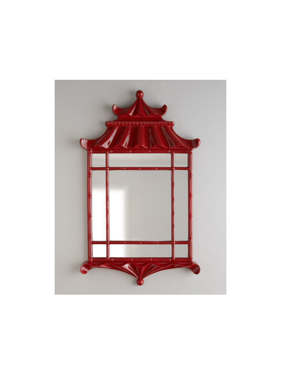 """Horchow - Red """"Pagoda"""" Mirror - Asian inspiration resonates from this exquisite pagoda mirror. Sure to add just the right element of intrigue to open your decor. Designed by Bunny Williams. Frame handcrafted of cast resin. Hand-painted red-lacquer finish. D-ring hanger, hardware...."""