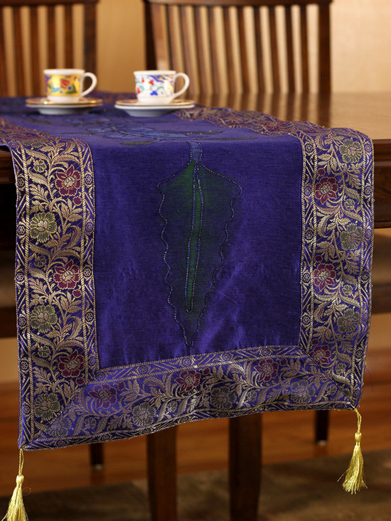 """Elegant Table Runners - Beautiful """"Hand Painted"""" table runner. King Blue color. Decorative Indian design."""
