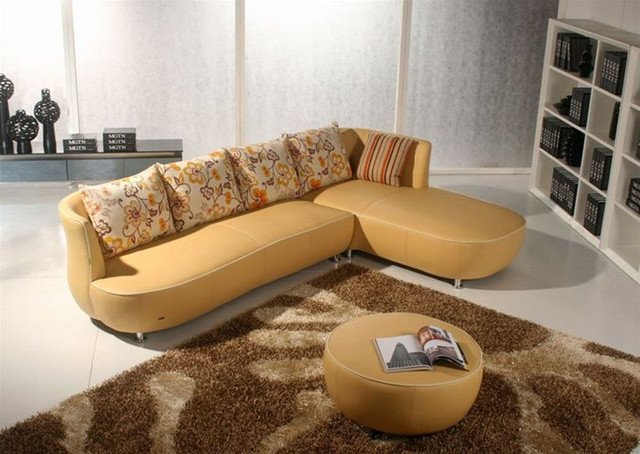 Graceful All Real Leather Sectional with Pillows contemporary sectional sofas