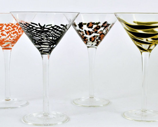 Gift Set of 4, Assorted Animal Print Martini Glasses - Take a sip on the wild side! Unique and stylish, these glasses will turn up the fun factor and set you apart as the hippest host or hostess. Sold in a set of 4, which includes: Zebra, Leopard, Giraffe and Tiger prints. The set comes in a gift box, includes four coctail recipes.