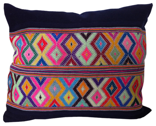 Diamond Pattern Embroidered eclectic-decorative-pillows