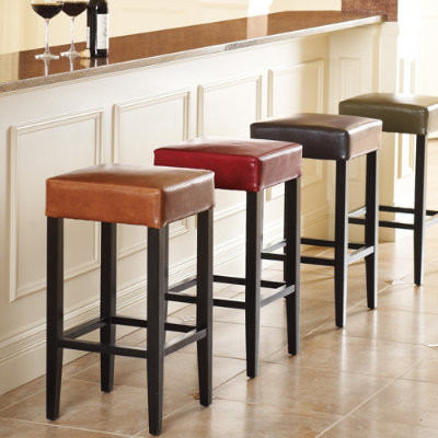 Sabrina leather bar stool traditional bar stools and for Bancos de madera para cocina