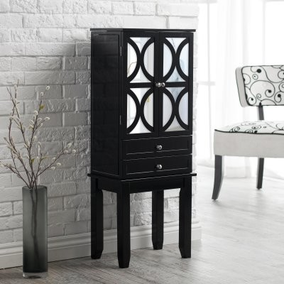 Belham Living Mirrored Lattice Front Jewelry Armoire - High Gloss Black modern-furniture