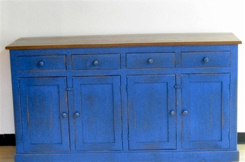 Blue Server From Reclaimed Wood Farmhouse Buffets And