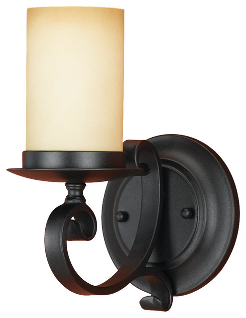 Black Iron Vanity Lights : Murray Feiss WB1310BK Black Kings Table 1 Light Wrought Iron Faux Candle Wall Sc - Transitional ...