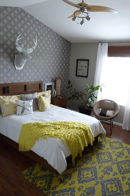 gray and yellow bedroom transitional bedroom new york by janna