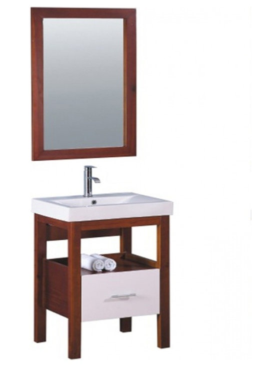 """Legion Furniture - 24 Inch Modern Single Sink Bathroom Vanity - This 24 inch modern single sink bathroom vanity is a perfect center piece for your bathroom project.  This Brown bathroom vanity features 1 drawer, 1 shelf and a white ceramic top with integrated sink that is pre-drilled for a standard 4 inch single slot faucet (faucet not included). Large opening in back for easy plumbing installation.  Dimensions: 24""""W X 20""""D X 33.5""""H (Tolerance: +/- 1/4""""); Counter Top: White Ceramic with Integrated Sink; Finish: Brown; Features: 1 Drawer, 1 Shelf; Hardware: Brushed Nickel; Sink(s): White Ceramic; Faucet: Pre-Drilled for Standard Single Hole Faucet (Not Included); Assembly: Light Assembly Required; Large cut out in back for plumbing; Included: Cabinet, Sink, Mirror (23.5""""W X 35.5""""H); Not Included: Faucet, Backsplash."""