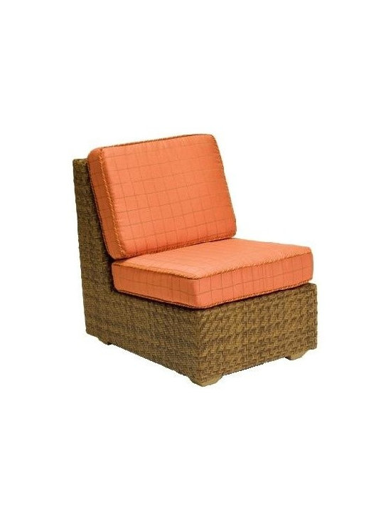 Woodard - Domino Wicker Lounge Chair (Honey Wheat Wicker) - Fabric: Honey Wheat Wicker. With cushions. Inhibitors added to prevent mildew growth and fading from the sun (UV stabilized. Stretch resistant - unsurpassed tensile strength resists sagging or stretching. Soil and scratch resistant - protected against soiling and abrasion from normal usage. Easy to maintain with a solution of water and mild detergent. Made from wicker. Seat height: 18 in. H. 35 in. W x 25.5 in. D x 34 in. H (35 lbs.). All products are made to order. Orders cannot be cancelled after 5 calendar days. If order is cancelled after 5 calendar days, a 50% restocking fee will be appliedIdeal for outdoor dining, this armless lounge chair makes a great addition to your casual living arrangement. Durable aluminum frame is covered with high quality, hand woven wicker - an unbeatable combination of all weather value. Soft seat & back cushions included.