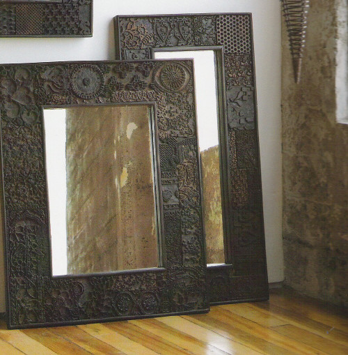 Vintage Woodprint Mirrors eclectic